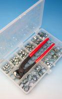 Jubilee® 2-Ohr Klemmen Kit Verzinkter Stahl (W1)mit Werkzeug 175 Stk